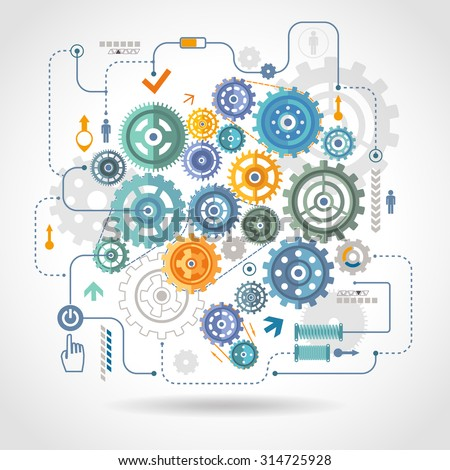 Cogwheels gear mechanical mechanism detail rotation work  schema with relay switch and start button abstract vector illustration - stock vector