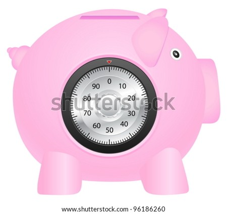 Coin bank with combination lock on a white background. Vector illustration. - stock vector
