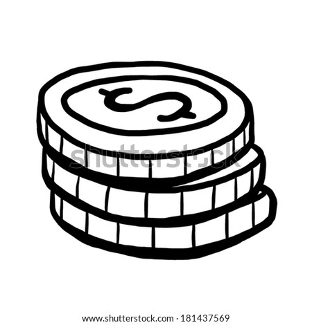 Coin Cartoon Vector Illustration Black White Stock Vector ...