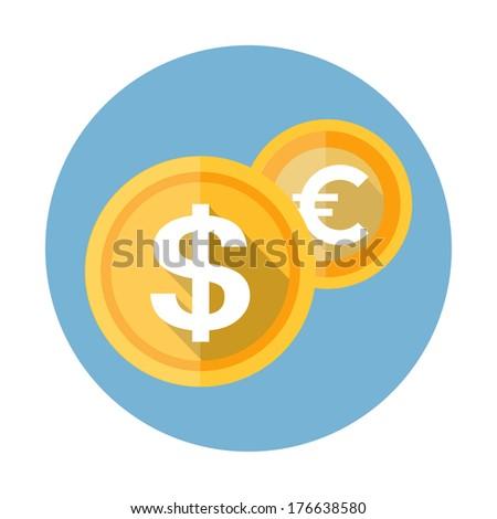 Coin flat icon - stock vector