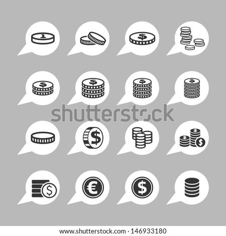 Coin icons - stock vector