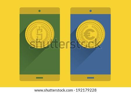Coin in a mobile screen - stock vector