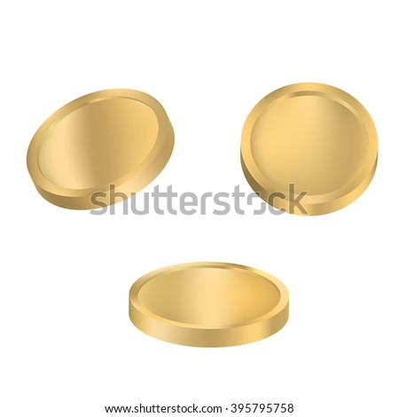 Coin variations vector. Set of gold coins isolated on white background. - stock vector