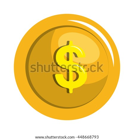 Coins currency in yellow color icon, vector illustration icon.