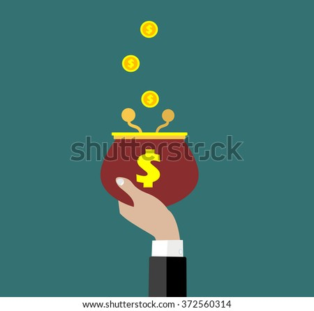 Coins falling to  retro money purse. Deposit, investment, investments, savings, loans, insurance concept illustration. Flat style vector illustration. - stock vector