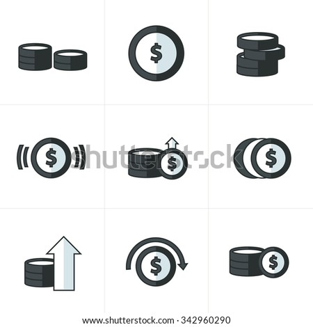 Coins Icons Set, black and white - stock vector
