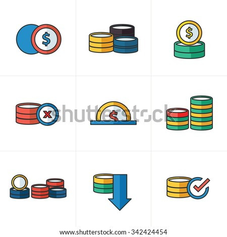 Coins Icons Set cartoon style - stock vector