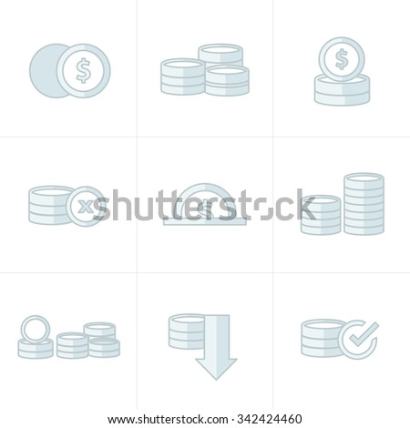 Coins Icons Set gray color - stock vector