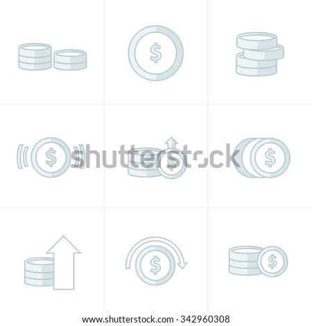 Coins Icons Set, white color - stock vector