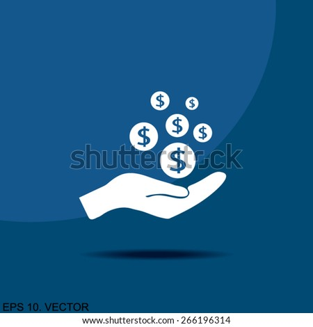 coins in hand, web icon - stock vector