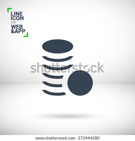Coins isolated minimal single flat icon. Money line vector icon for websites and mobile minimalist flat design.
