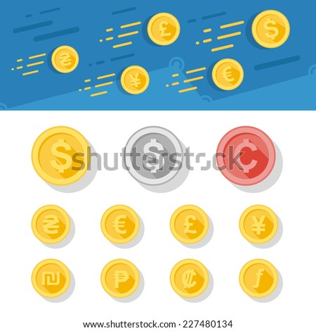 Coins of different currencies in flat style. Concept illustration of dynamic currency growing. - stock vector