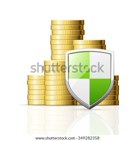 Coins stack and shield