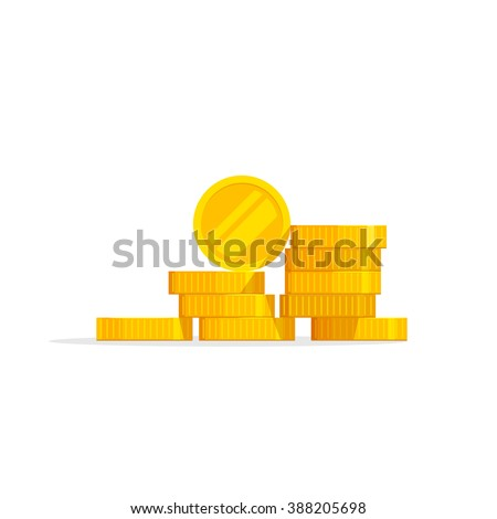 Coins stack vector illustration, coins icon flat, coins pile, coins money, one golden coin standing on stacked gold coins modern design isolated on white background - stock vector