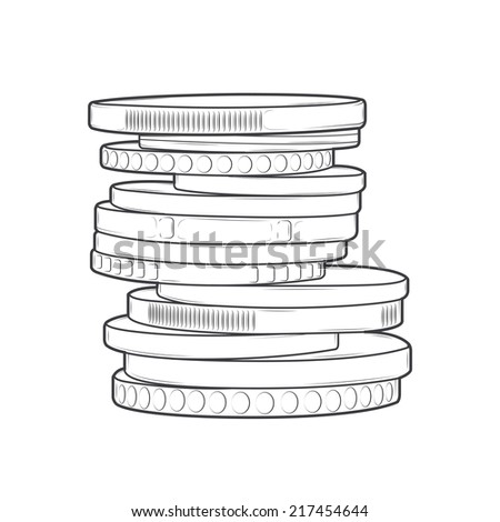 Coins stacks isolated on a white background. Line art. Retro design. Vector illustration. - stock vector