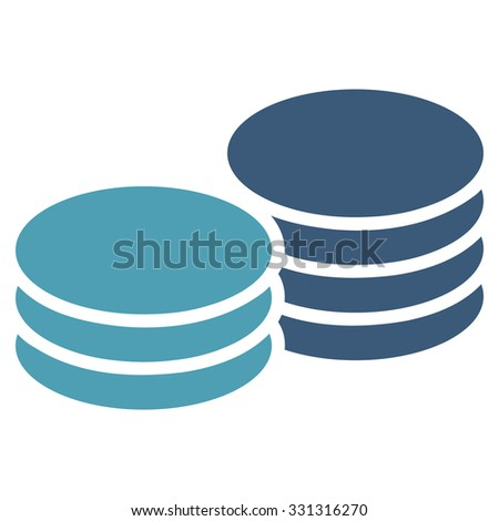 Coins vector icon. Style is flat bicolor cyan and blue symbol, rounded angles, white background.