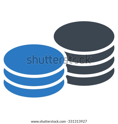 Coins vector icon. Style is flat bicolor smooth blue symbol, rounded angles, white background.