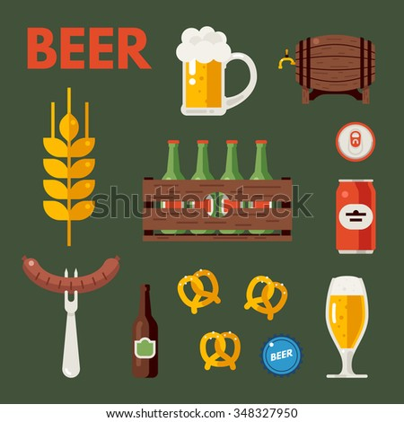 Cold beer icons. Bottle, glass and cups. Wooden crate with green bottles. Delicious snacks and sausages. Oktoberfest concept. Flat vector illustration. - stock vector