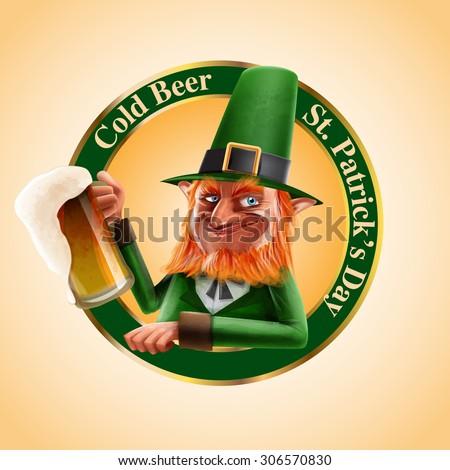cold beer irish - stock vector