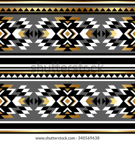 cold, black and white color tribal Navajo seamless pattern. aztec abstract geometric art print. Wallpaper, cloth design, fabric, paper, wrapping, textile design template. - stock vector