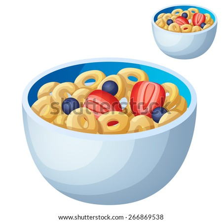 Cold cereal isolated on white background. Detailed Vector Icon. Series of food and drink and ingredients for cooking. - stock vector