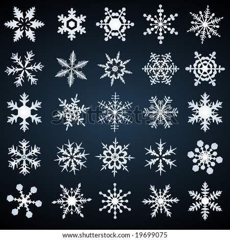 cold crystal gradient snowflakes - vector set - stock vector