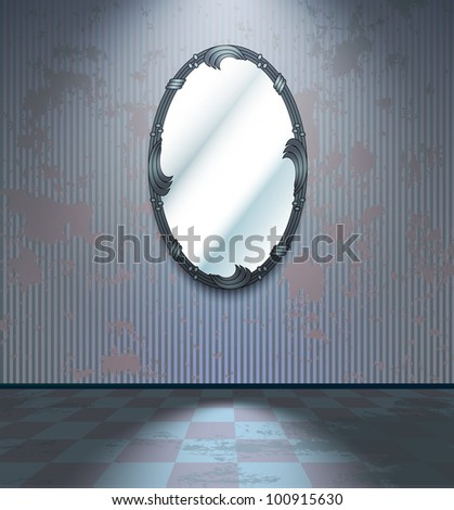 Cold grey room with mirror - stock vector