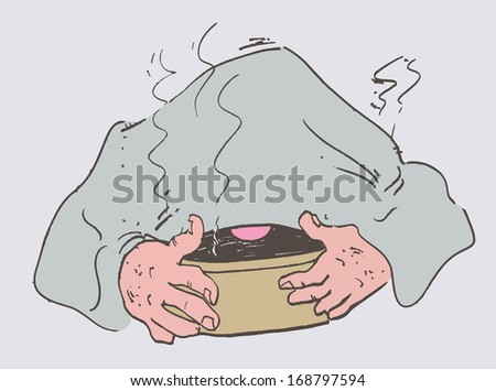 Cold man laid a towel breathes steam - stock vector