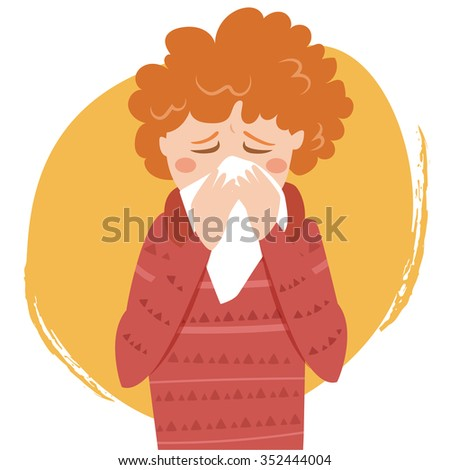 Cold. Sneeze. Vector isolated illustration. Cartoon character. - stock vector