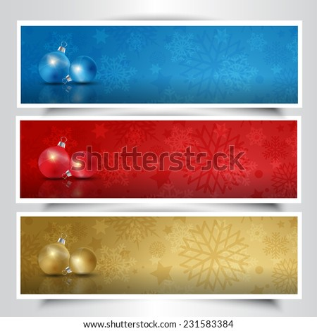 Colection of Christmas bauble headers in different colours - stock vector