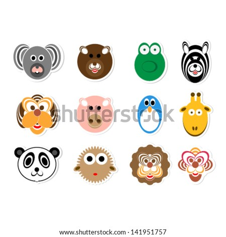 Colection of colored animal faces
