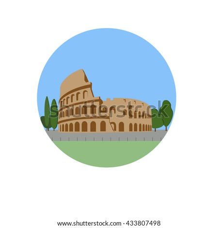 Coliseum, Colosseum vector icon sign. Flavian Amphitheatre located in Rome, Italy. World famous landmark. Vector flat style design. Website, application button. Postcard, Postage Stamp, card - stock vector