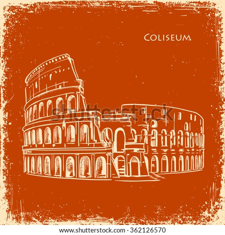 Coliseum in Rome, Italy. Colosseum hand drawn vector illustration sketch on an old paper retro texture background - stock vector