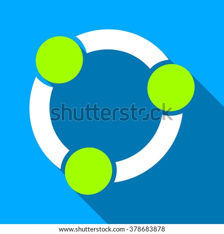 Collaboration Circle long shadow vector icon. Style is a flat light symbol with rounded angles on a blue square background. - stock vector