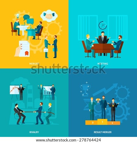 Collaboration design concept set with meeting rivalry result merger flat icons isolated vector illustration - stock vector