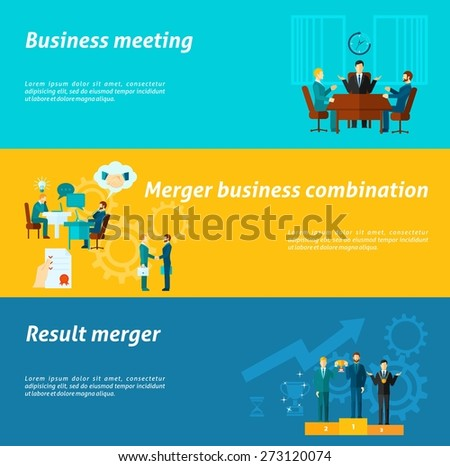 Collaboration horizontal banner set with merger business meeting elements isolated vector illustration - stock vector