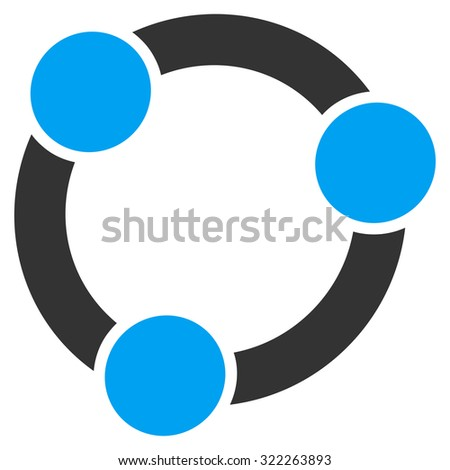 Collaboration vector icon. Style is bicolor flat symbol, blue and gray colors, rounded angles, white background.