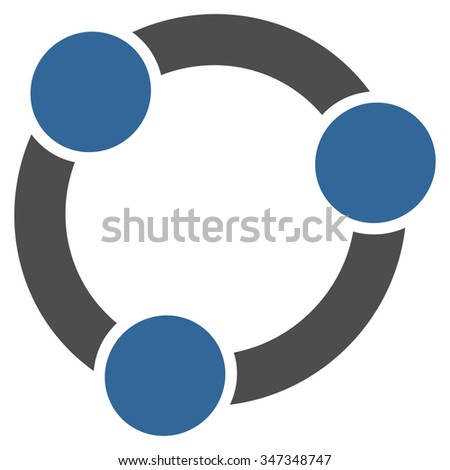 Collaboration vector icon. Style is bicolor flat symbol, cobalt and gray colors, rounded angles, white background.