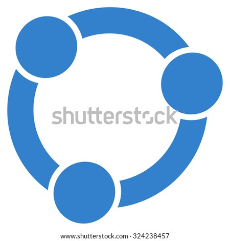Collaboration vector icon. Style is flat symbol, cobalt color, rounded angles, white background.