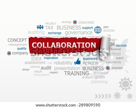 Collaboration word cloud. Design illustration concepts for business, consulting, finance, management, career. - stock vector