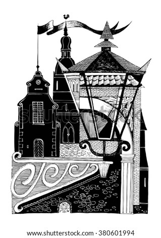 Collage graphic design on the theme of an old European city. The silhouette of the houses and street lamp. - stock vector