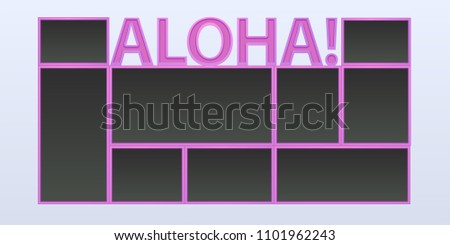 Collage Photo Frames Vector Illustration Background Stock Vector