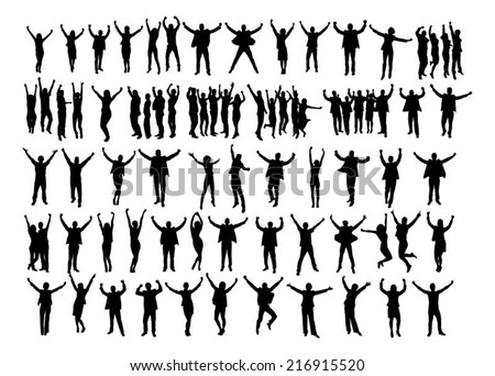 Collage of silhouette business people raising arms in victory over white background. Vector image - stock vector
