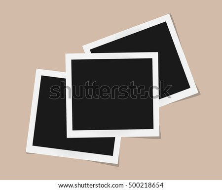 Collage of square vector photo frames isolated on beige background. Template retro photo design. Vector illustration