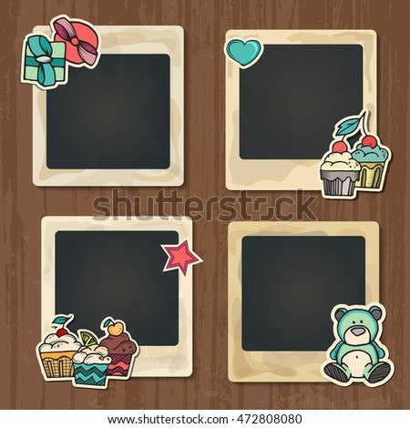collage photo frame on vintage background album template for kid baby family or