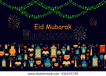 Collage style Eid Mubarak greetings background in vector - stock vector