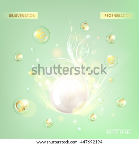 Collagen cream and Vitamin Drop of Concept Skin Care Cosmetic. Vitamin E drop with white sphere. Beauty treatment nutrition skin care design. Vector illustration.