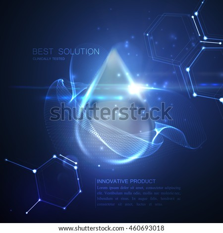 Collagen serum droplet with particles and lens flare light effect. Vector beauty illustration of collagen serum. Cosmetic skin care treatment design