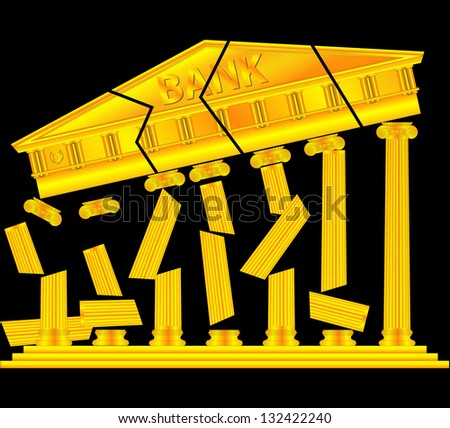 collapse of banks - stock vector