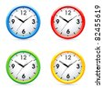 Collec�tion of vector color wall clock. - stock photo